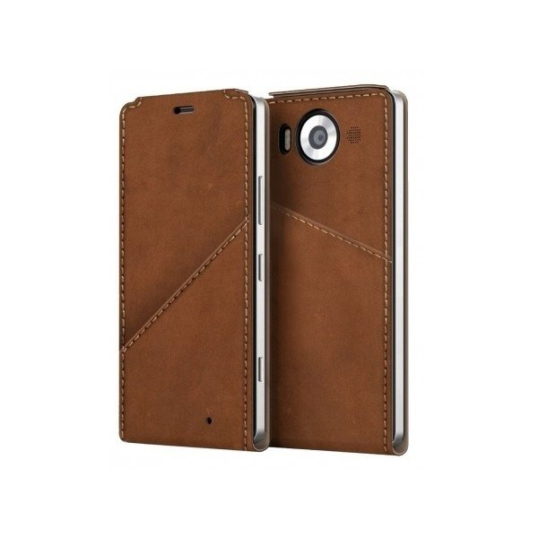 Etui Mozo Note Flip Cover Brązowy do Lumia 950